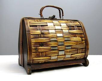 Vintage 1950s Purse 50s Brown Wood Woven Tiki Style Handbag