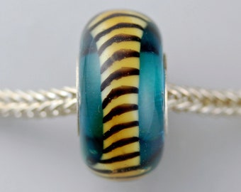 Unique Aqua Tiger Tail - Artisan Glass Bracelet Beads  - (JUN-56)