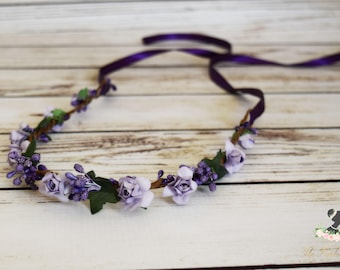 Handcrafted Lavender and Purple Flower Crown - Purple Berry Flower Crown - Flower Girl Crown - Purple Wedding Hair Accessories - Woodland