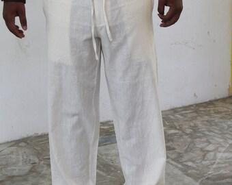 Mens  Organic Cotton Natural dyed   Drawstring pants,Plus Size.