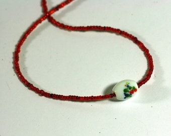Lampwork Bead Focal Necklace - Red Seed Bead Necklace - Lightweight USA Patriotic Jewelry Accessories