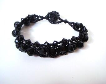 Elegant Gothic Bracelet - solid black crystal shamballa pave bead toggle bracelet for small wrists - petite gothic jewelry