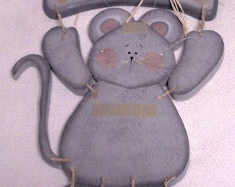 Wooden Welcome Gray Mouse- Use with Interchangeable Wooden Outfits