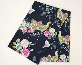 Snood - bleu nuit, jaune, rose paons oiseaux Fleurs Floral - écharpe Tube coton mode