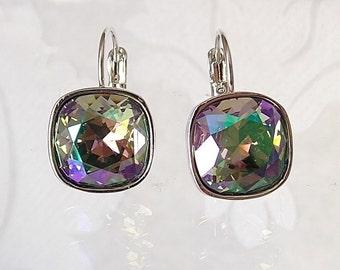 Rainbow Crystal Drop Earrings made w/ Cushion Cut  Paradise Shine Swarovski Rhinestones on Leverback Hoop Hooks