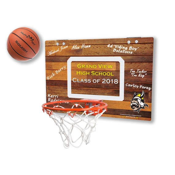Custom-Printed (Your Logo and Text) Basketball Hoop - Classic Wood imaged Mini Basketball Hoop