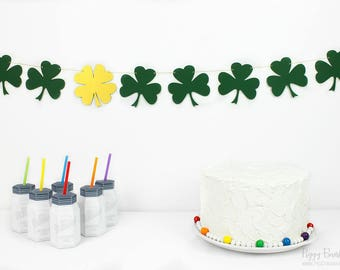 Shamrock Garland Kit : U-String Forest Bunting   St. Patrick's Day Party Decoration   Four Leaf Clover   Lucky Banner   Irish Photo Prop