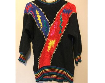 Vintage 80's Womens Sweater Multicolored MarieaKim Knit Colorful Sweater With Sequins SIZE M