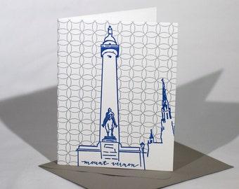Baltimore Letterpress Card   Washington Monument   blue & silver single blank card with envelope