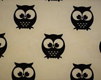 """Cotton fabric printed with """"OWL"""" on an ecru background patterns"""