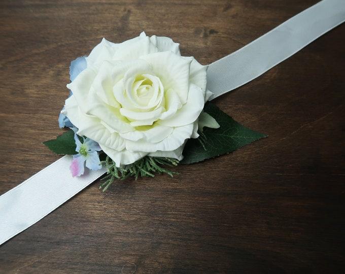 White rose blue hydrangea wedding prom wrist corsage sash belt realistic silk flowers single rose dusty miller greenery ivory elegant