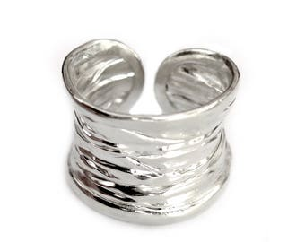 Handmade Sterling Silver Wide Rustic Band Ring, Hammered Silver Boho Cuff Ring, Minimalist Natural, women or men ring, Gift for her or Him