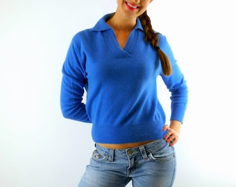 Lambswool Sweater, Garland Dreamspun, Bright Blue Sweater, Vintage 1960s Womens Sweater, Size Small