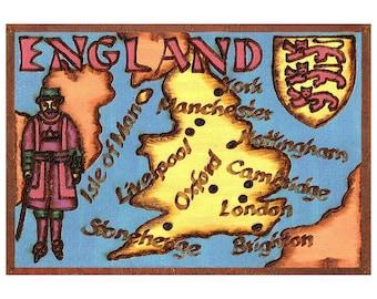 ENGLAND - Handmade Leather Journal / Sketchbook - Color