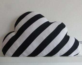 Wolkenkissen Streifen schwarz-weiß