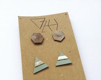 2 Pairs of geometric stud earrings