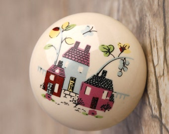 Round Ceramic Knobs Children Door Knobs Pulls Beige Porcelain Cartoon Knobs Drawer Knobs Dresser Knobs Furniture Hardware Cupboard Knobs