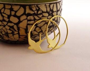 Gold Swallow Earrings, Bird Jewellery, Swallow Jewellery, Bird Earrings, Swallow Earrings, Hoop Earrings, Swallows, Bridesmaid Earrings,