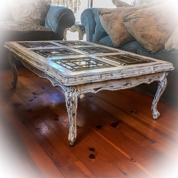 French Country Coffee Table Sets: SOLD Matching French Glass Top Coffee Table & Antique Sofa
