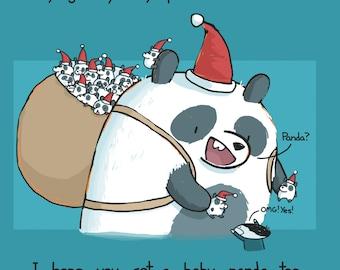 Happy Holidays Panda Card