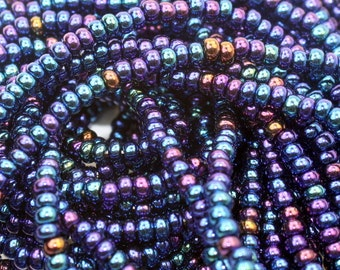 Size 8 Czech rocaille seed bead STRANDS, 2 strands, Blue Iris AB #579, ready to ship