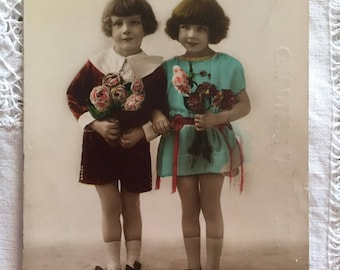 Antique postcard of 2 girls - Real photo - Hand tinted photo -  Wall decor