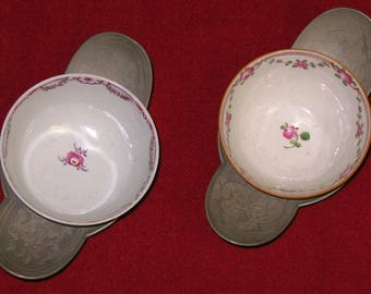 Chinese porcelain cups with fitted ornate pewter saucers 18 century sign