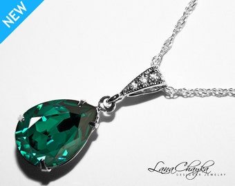 Emerald Crystal Necklace Bridesmaids Green Necklace Swarovski Rhinestone Necklace 925 Sterling Silver Wedding Bridesmaids Emerald Necklace