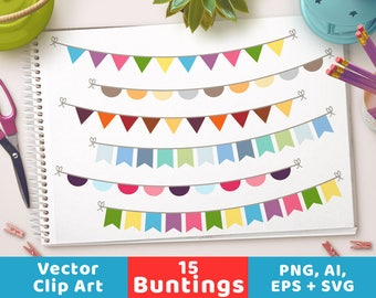 Bunting Clipart, Bunting Banner Clipart, Bunting Flag Clipart, Bunting Triangle, Bunting Half Circle, Garland Clipart, Bunting SVG, Birthday