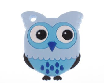 Blue food OWL silicone teething ring
