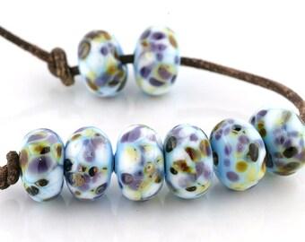 Adriatic Sea Handmade Glass Lampwork Beads (8 Count) by Pink Beach Studios - SRA (1851)