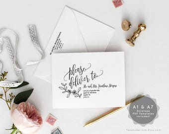 Editable A1 and A7 Envelope template, Instant Download PDF, modern rustic calligraphy Theme for Wedding Invitation Set, kraft (TED334A_2)