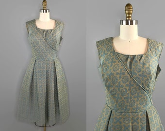 1970s does 50s Box Pleat Sleeveless Dress / Woven Wool Blue and Gold Dress Square Neckline Knee Length