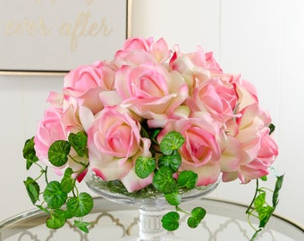 Real Touch Pink Rose Arrangement in Tall Glass Vase as Artificial Faux Arrangement Home Decor