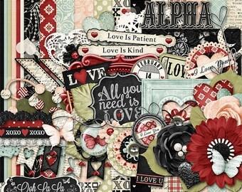 On Sale 50% Valentine, Love Is, Digital Scrapbooking Kit, Holiday