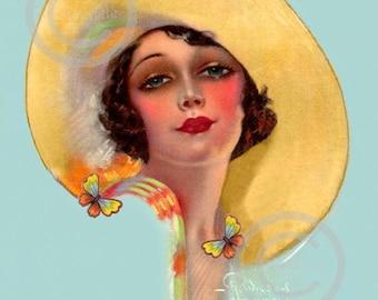 Art Deco Beautiful Girl Print, Yellow Hat, Butterflies, Gorgeous pin-up, Flapper Jazz Age, R Wilson Hammell, Giclee Art Print 11x14 1920s