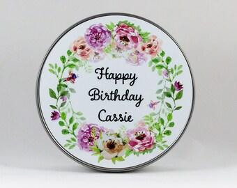Personalized Happy Birthday Tin, Round Tin, Jewelry Tin, Cookie Tin, Candy Tin, Gift Tin, Birthday Tin, Photo Tin, Metal Storage Tin
