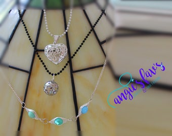 Ball Chain Necklaces, Silver Heart, Beads