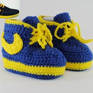 Blue yellow baby booties, baby shoes, crochet baby сonverse, baby booties,  Booties