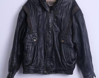 Marcos Mens 52 L Bomber Jacket Black Leather Vintage Made In Italy Biker Top Shoulder Pads J7uw04XF