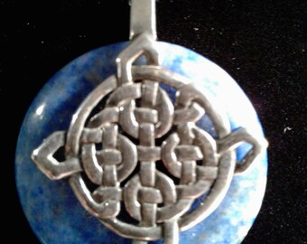 Sterling Silver Celtic Knot work with 30mm Lapis Donut