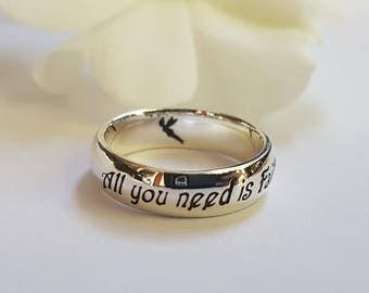 Tinker Bell Ring, Peter Pan Ring, J.M. Barrie, Tinker Bell, quote ring, 925 sterling silver, Magical, Fairytale, Pixie Dust, Tink, Handmade