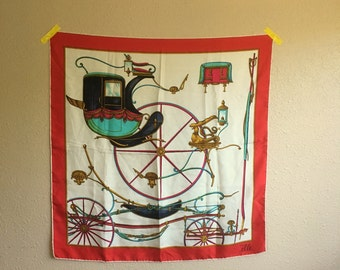 Vintage 70s CARRIAGE Print Silk Scarf By Elle / 29 x 31