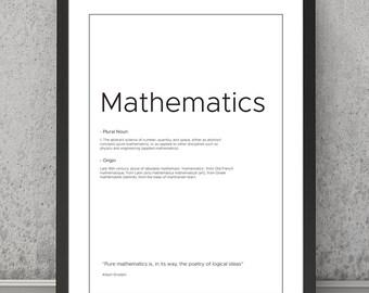 Mathematics definition print Mathematics typography print Mathematics print Mathematics poster Typography print Quote print, quote poster
