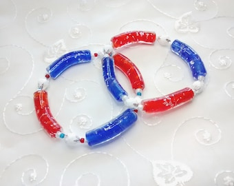 Patriotic Noodle Btacelet,  Lampwork Bead Stretch Bracelet, Noodle Bead Bracelet, Fourth of July Bracelet, Holiday Jewelry