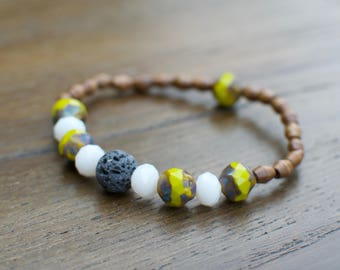 Diffuser Bracelet   Random Beads + Lava Stone   Stackable Beaded Bracelet   Essential Oil Jewelry  