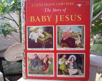 The Story of Baby Jesus  Rare Little Golden Stamp Book 1950's