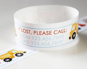 Custom Vinyl Construction ID Bracelets - Personalized ID Bands - #Kids #Travel #Safety #Medical
