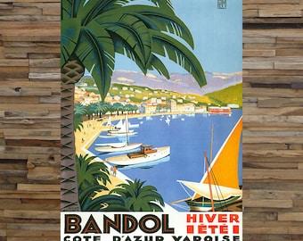 Bandol Hiver Ete Vintage Travel Ad, Coastal Art, Vintage Art, Giclee Art Print, fine Art Reproduction