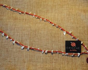 Crochet Boho Necklace-Red Flower